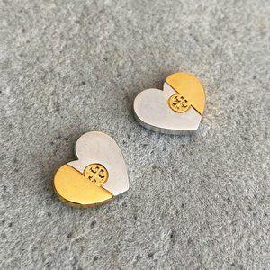 Tory Burch Two-Tone Stitching Logo Earrings